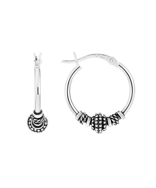 Sterling Silver Roped Beaded Earrings