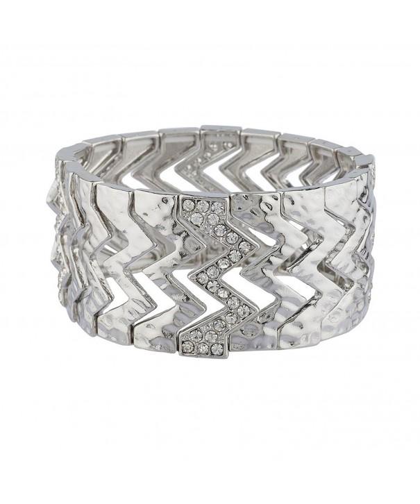 Lux Accessories Silvertone Hammered Bracelet