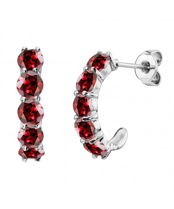 Sterling Silver Round Garnet Earrings
