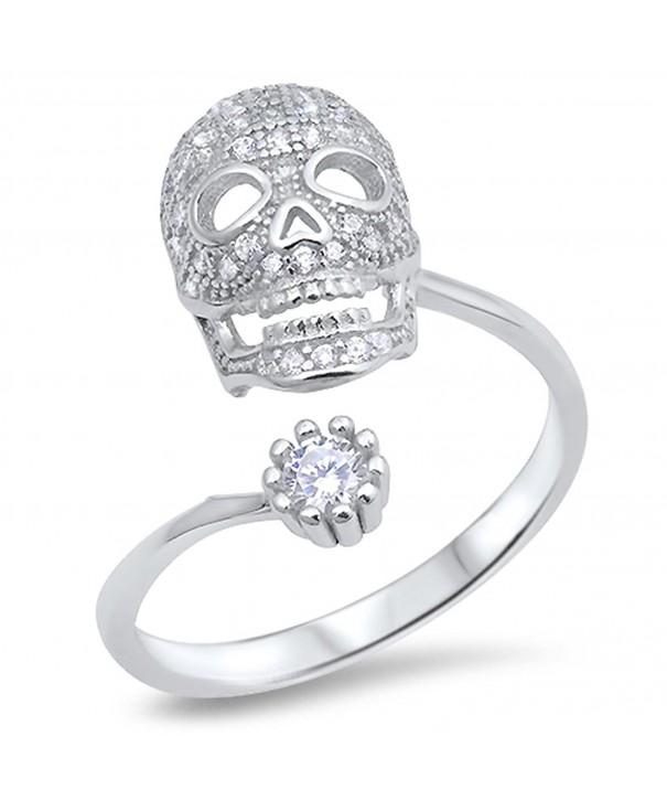 Skull Biker White Sterling Silver