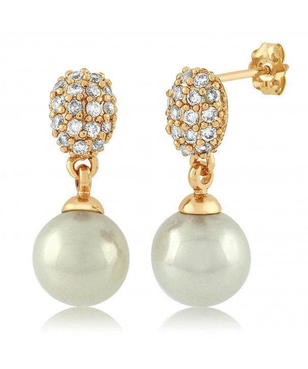 Simulated Pearl Dangle Earrings Zirconia