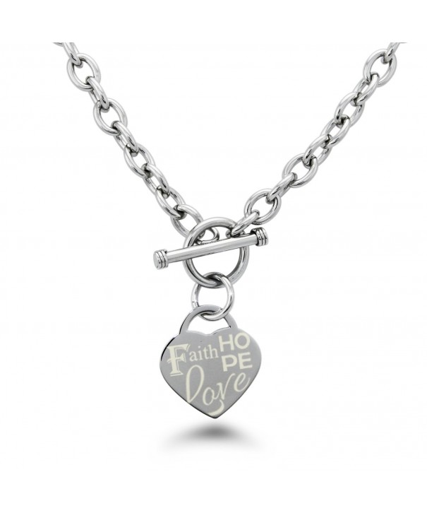 Stainless Steel Faith Engraved Necklace