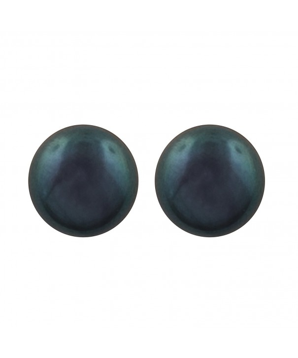 Sterling Silver Button Simulated Earrings