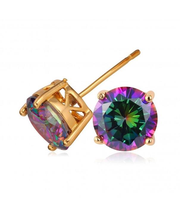U7 Earrings Zirconia Colorful Diamond