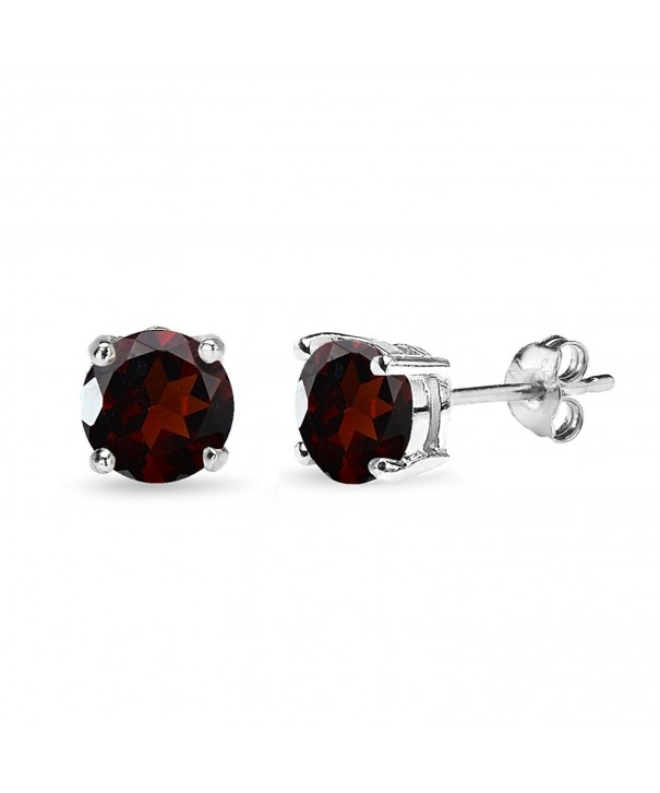 Sterling Silver Round Cut Solitaire Earrings