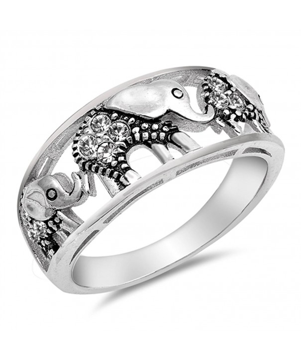 White Filigree Elephant Sterling Silver