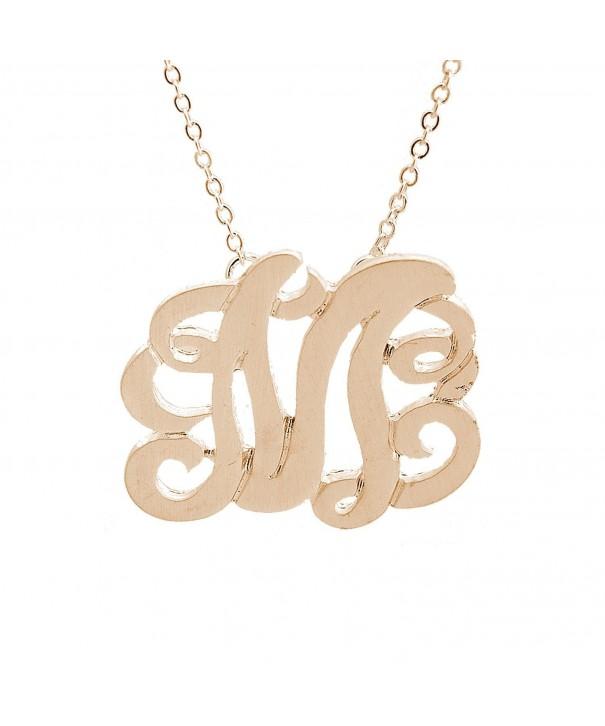 Brushed Metal Initial Monogram Necklace