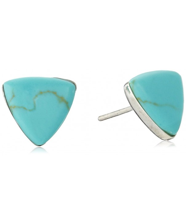 Sterling Turquoise Gemstone Triangle Earrings
