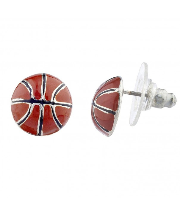 Lux Accessories Silvertone Basketball Earrings