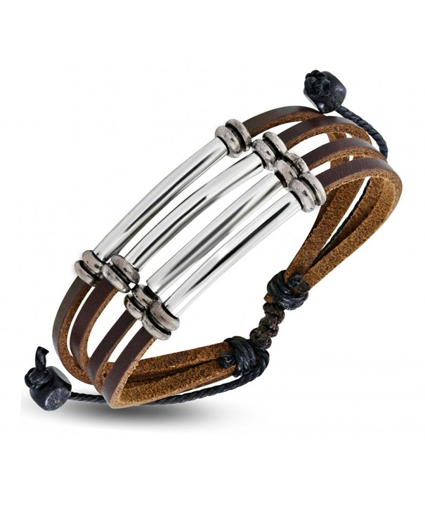 Leather Bracelet Silvertone Adjustable Drawstring