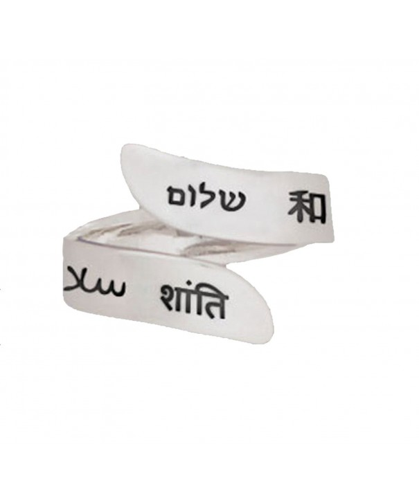 Language Peace Adjustable Silver Ring