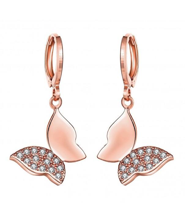 Lynlon Gold Plated Zirconia Butterfly Earrings