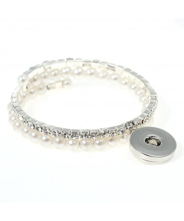 Button Chunk Bracelet Silver Rhinestone