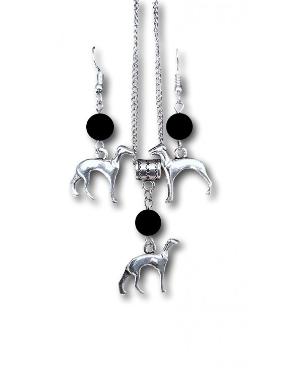 Greyhound Charm Necklace Earrings Pashal