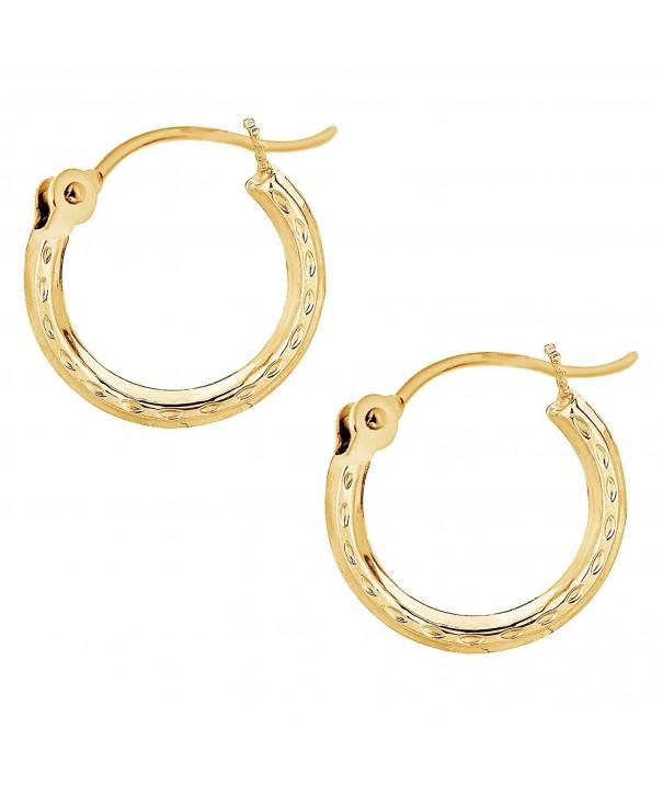 Yellow Earrings Tubular 2x12mm Diamond Cut