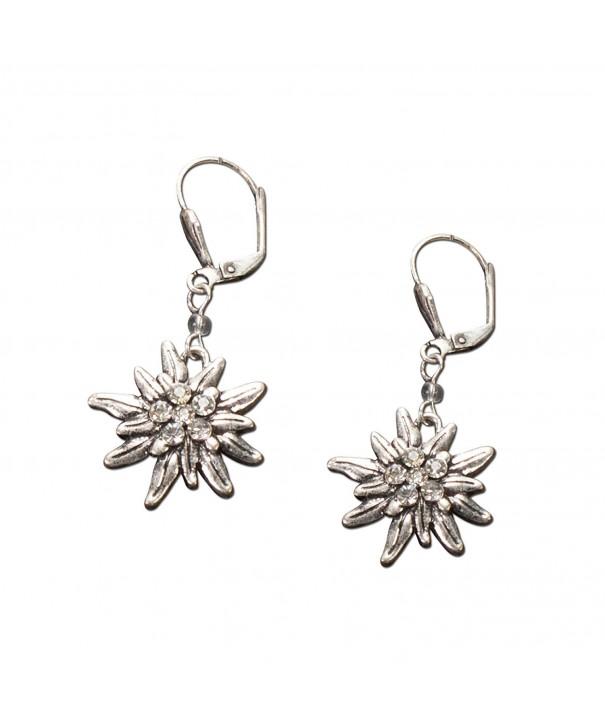 Bavarian Earrings Rhinestone Edelweiss clear