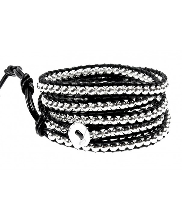 Rhiannon Leather Silvertone Bracelet Adjustable