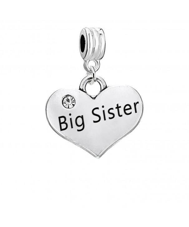 Sister Heart Charm European Bracelets