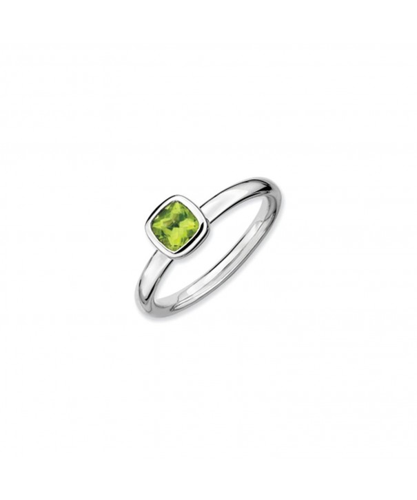 Silver Stackable Cushion Peridot Solitaire