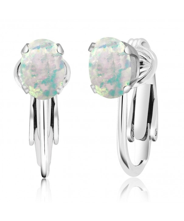 Cabochon Simulated Sterling Silver Earrings