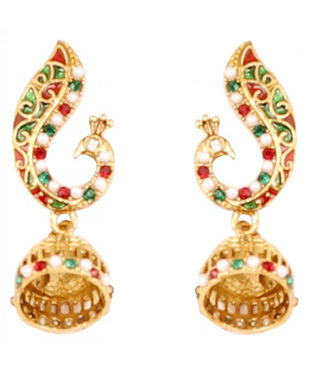 Touchstone Bollywood peacock jewelry earrings