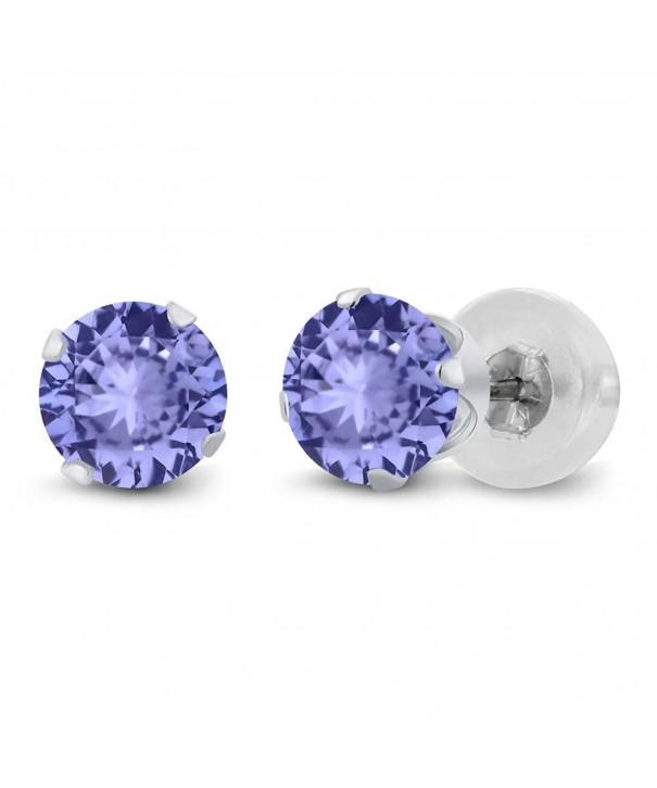Round Tanzanite Solid White Earrings