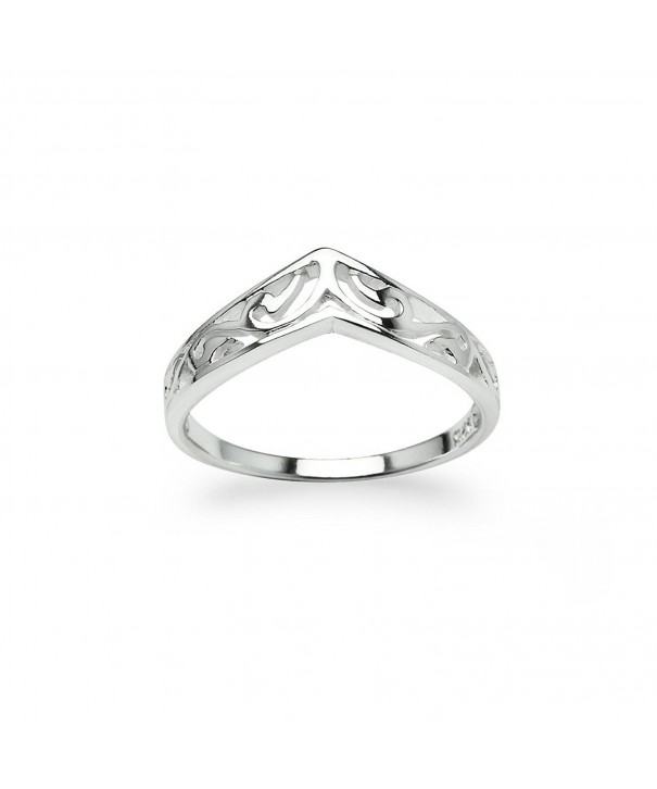 Chevron V Shaped Filigree Sterling Silver
