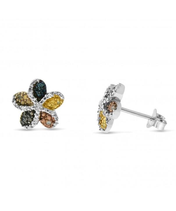 Sterling Silver Multi colored Diamond Earrings