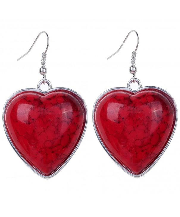 YAZILIND Vintage Heart Dangle Earrings