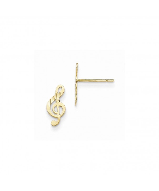 Yellow Gold Polished Musical Earrings
