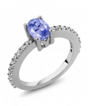 7X5MM Tanzanite Created Sapphire Silver
