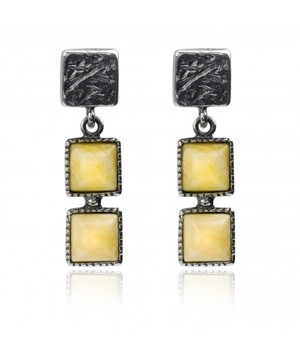 Sterling Butterscotch Amber Squares Earrings