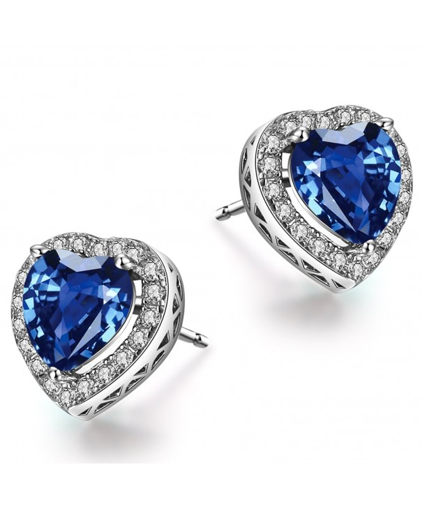 Caperci Sterling Created Sapphire Earrings