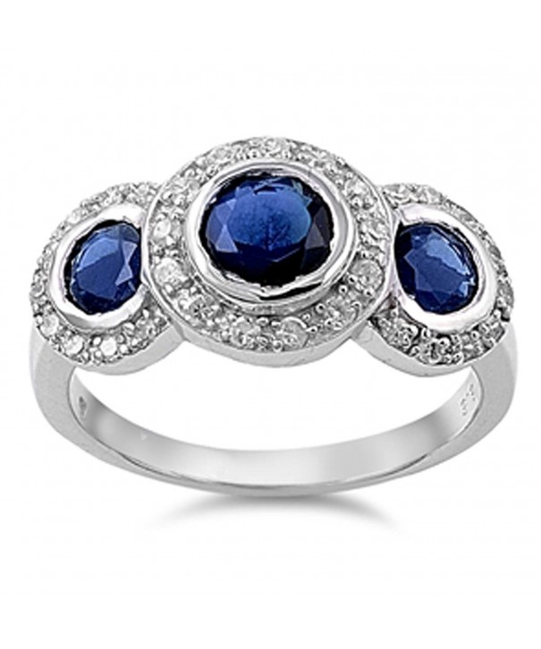 Simulated Sapphire Round Sterling Silver