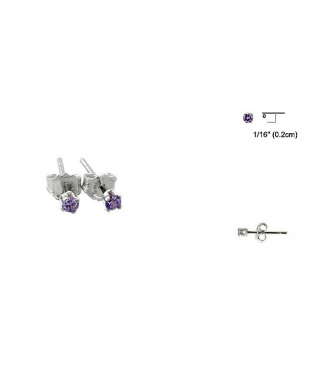 Simulated Amethyst Sterling Solitaire Earrings