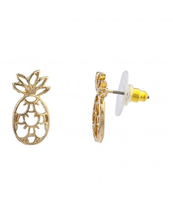 Lux Accessories Tropical Pineapple Earrings