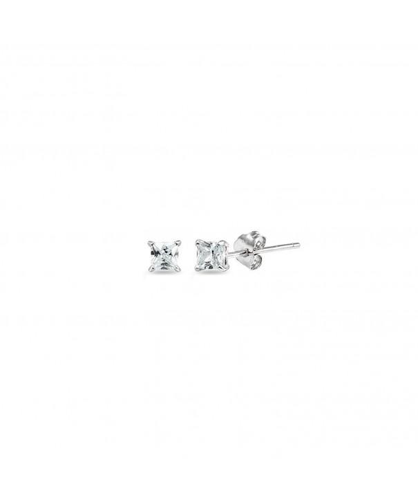 Sterling Silver Zirconia Princess Cut Earrings
