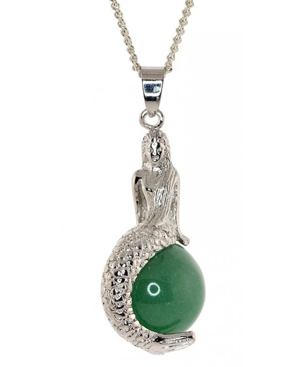 Mermaid Pendant Chain Necklace Jade