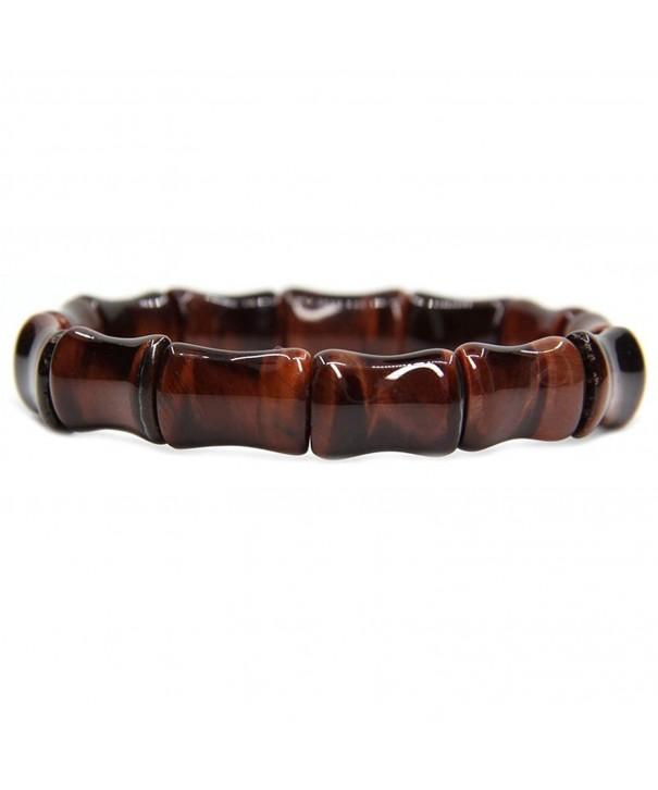 Handmade Semi precious Bamboo Elastic Bracelet