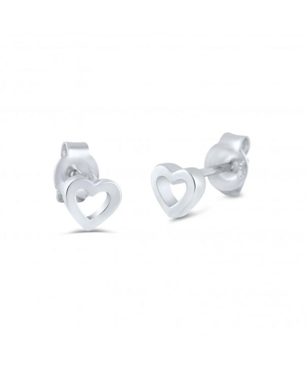 Sterling Silver Hollow Heart Earrings