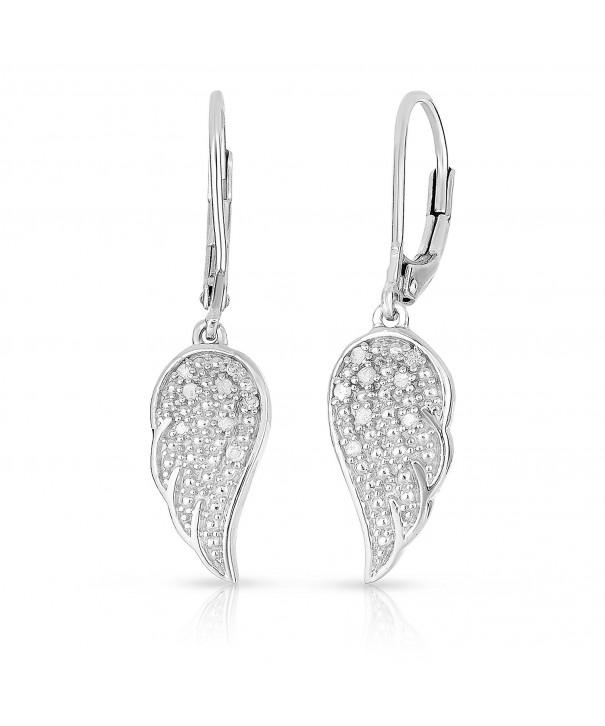 Genuine Diamond Earrings Sterling Silver