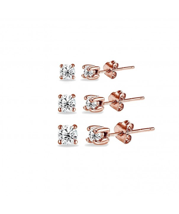 Flashed Sterling Silver Zirconia Earrings