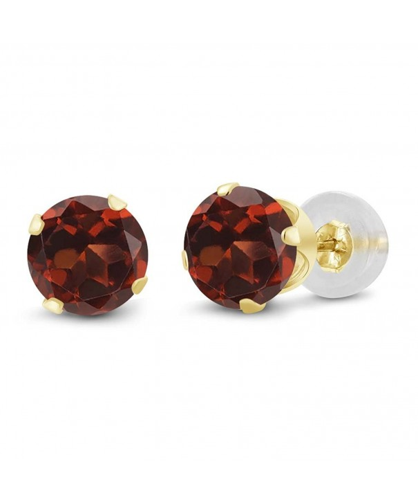 Round Garnet Yellow Womens Earrings