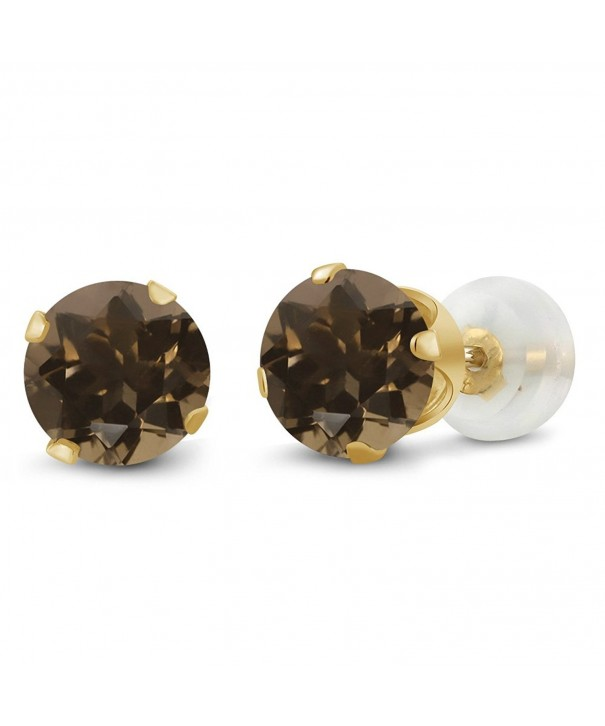 Round Brown Quartz Yellow Earrings