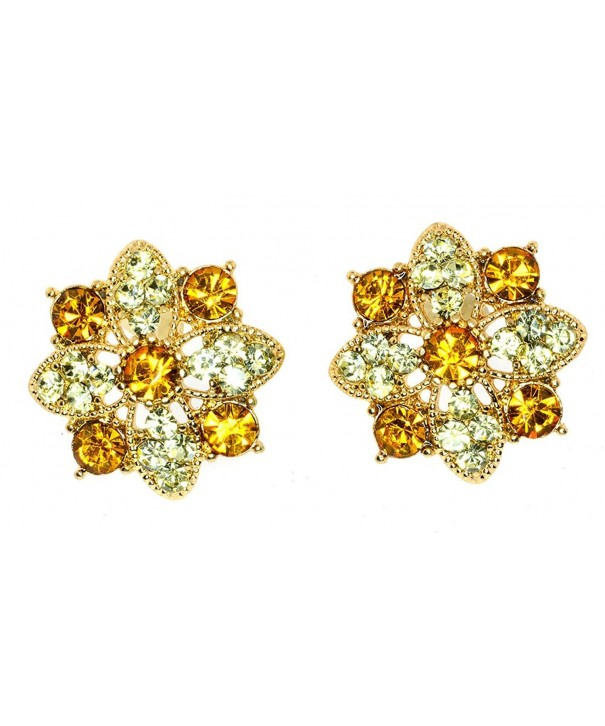 Clear Crystal Flower Stud Earrings
