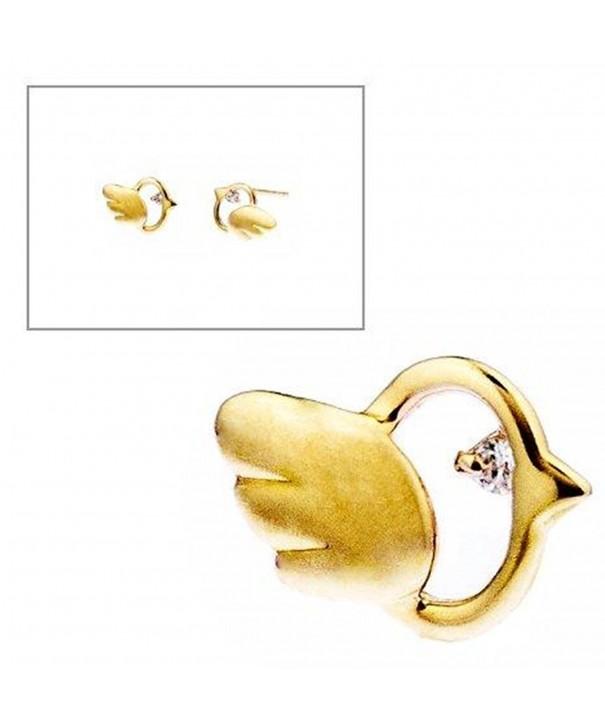 Gold Bird Eyes Stud Earrings