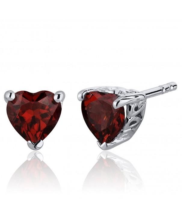 Carats Garnet Earrings Sterling Rhodium
