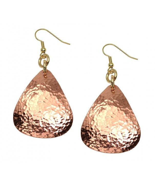 Hammered Tear Drop Copper Earrings