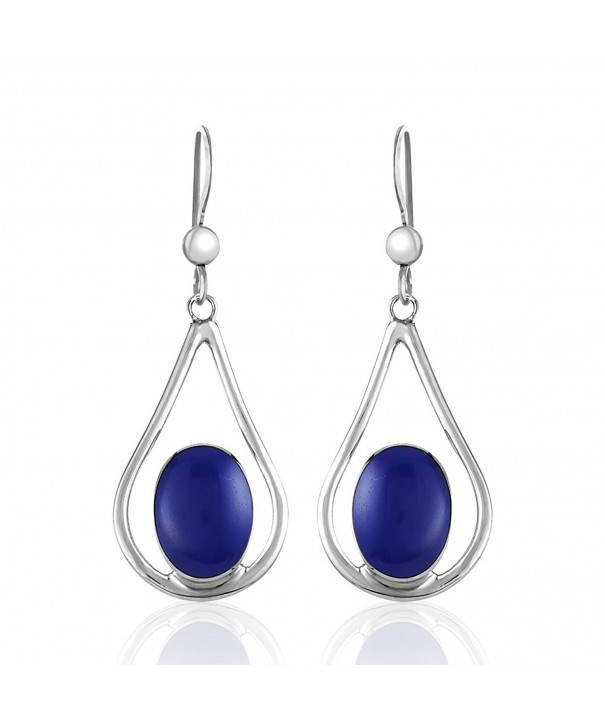 Sterling Teardrop Reconstructed Gemstone Earrings