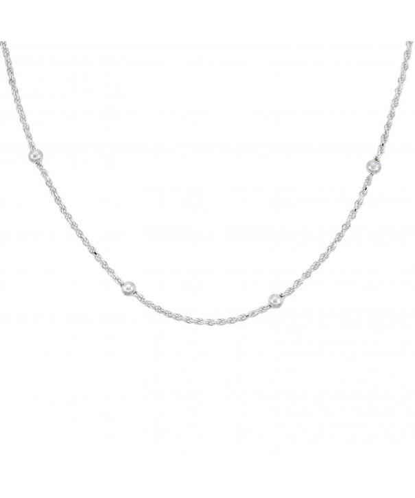 Sterling Silver Station Necklace Nickel